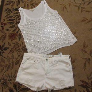 White guess shorts size 36